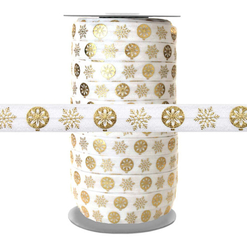 Gold Metallic Snowflake Ornaments on White Fold Over Elastic 100yd