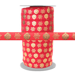 Gold Metallic Snowflake Ornaments on Red Fold Over Elastic 100yd