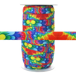 "Rainbow Flower Power 100yd 5/8"" Fold Over Elastic"