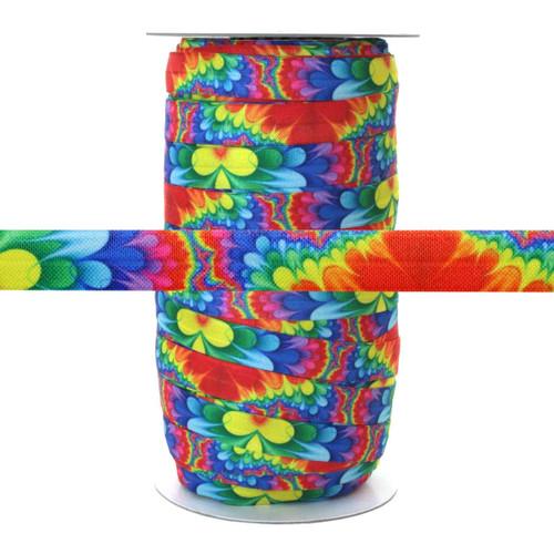 "Rainbow Flower Power 100yd 5/8"" Fold Over Elastic"