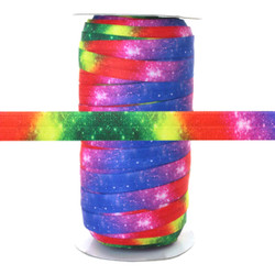 "Rainbow Star Galaxy 100yd 5/8"" Fold Over Elastic"