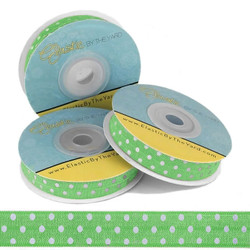 Green with White Polka Dots Fold Over Elastic