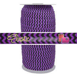"Black Chevron on Sugar Plum 5/8"" Fold Over Elastic 100yd"