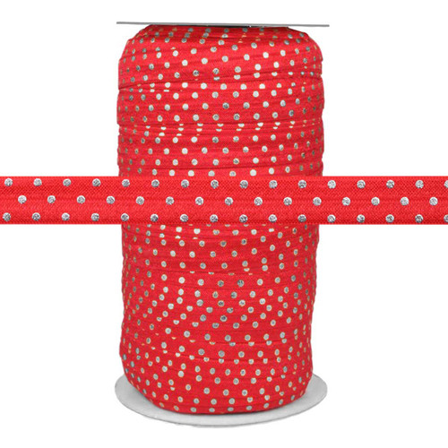 "Silver Dots on Red 5/8"" Fold Over Elastic 100yd"