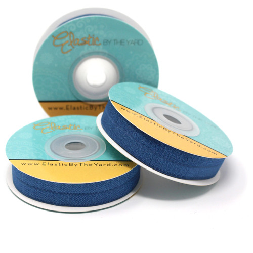 """Stormy Blue 5/8"""" Fold Over Elastic"""