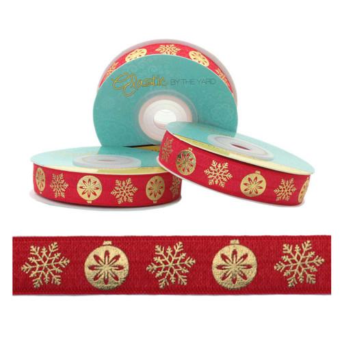 Gold Metallic Snowflake Ornament Red