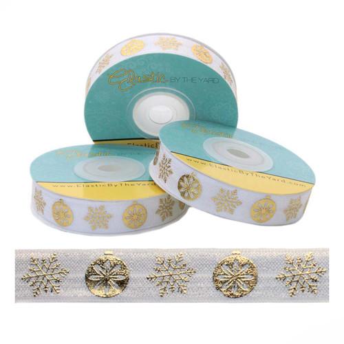 "Gold Metallic Snowflake Ornament White 5/8"" Fold Over Elastic"
