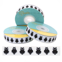 "Black Owl on White 5/8"" Fold Over Elastic"