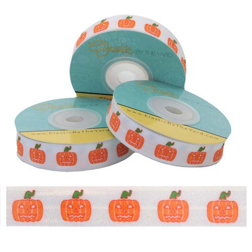 "Halloween Pumpkin on White 5/8"" Fold Over Elastic"
