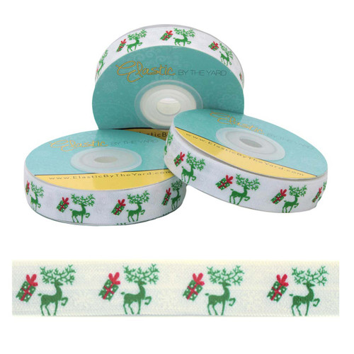"""Reindeer Christmas Gifts on White 5/8"""" Fold Over Elastic"""