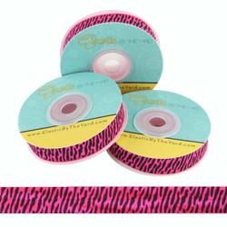 Hot Pink Zebra Print Fold Over Elastic
