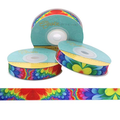 "Rainbow Flower Power 5/8"" Fold Over Elastic"
