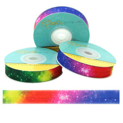 "Rainbow Star Galaxy 5/8"" Fold Over Elastic"