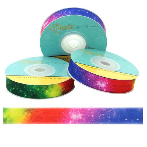 "Rainbow Star Galaxy 5/8"" Fold Over Elastic"