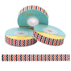 "Orange & Black Chevron on White 5/8"" Fold Over Elastic"