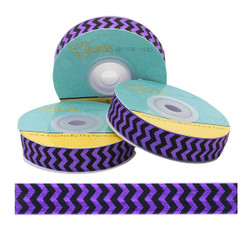 "Black Chevron on Sugar Plum 5/8"" Fold Over Elastic"