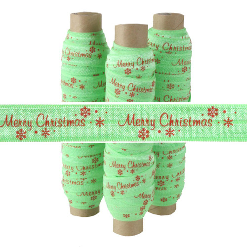 """Red Text Merry Christmas on Light Green 5/8"""" Fold Over Elastic"""
