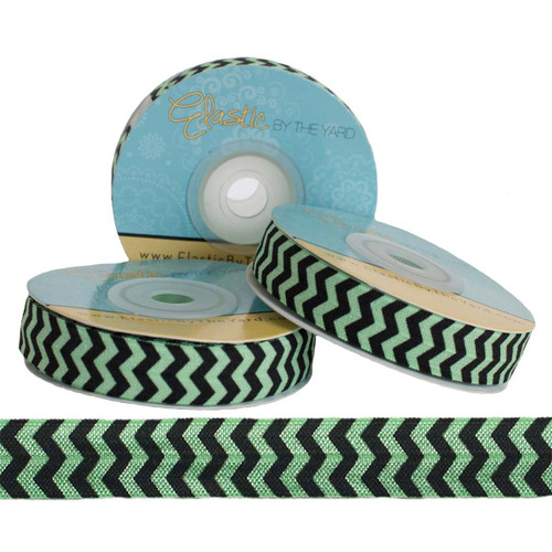 Black Chevron on Mint Print Fold Over Elastic