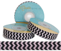 Lt. Pink and Black Chevron Print Fold Over Elastic