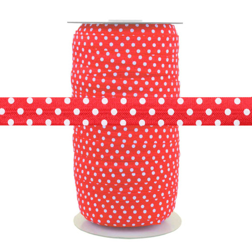 Red with White Polka Dots Fold Over Elastic 100yd