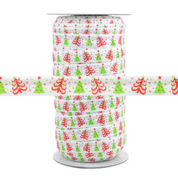 Modern Christmas Tree Print Fold Over Elastic 100yd