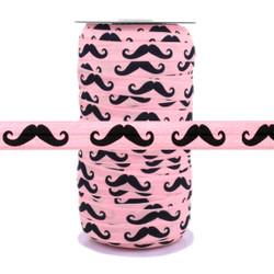 "Black Mustache on Lite Pink 5/8"" Fold Over Elastic 100yd"