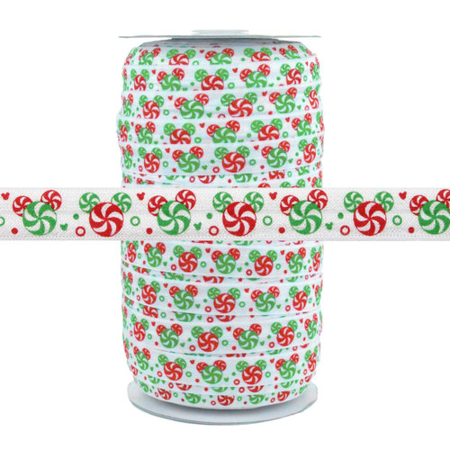 """Christmas Peppermint Candy 5/8"""" Fold Over Elastic 100yd"""