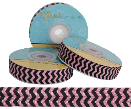 Pink and Black Chevron Print Fold Over Elastic