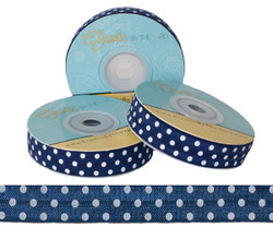 Navy with White Polka Dots Fold Over Elastic