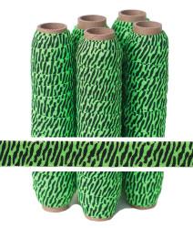 Neon Green Zebra Print Fold Over Elastic