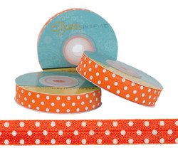 Orange with White Polka Dots Fold Over Elastic