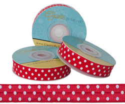 Red with White Polka Dots Fold Over Elastic