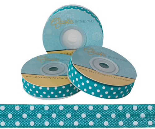 Teal with White Polka Dots Fold Over Elastic