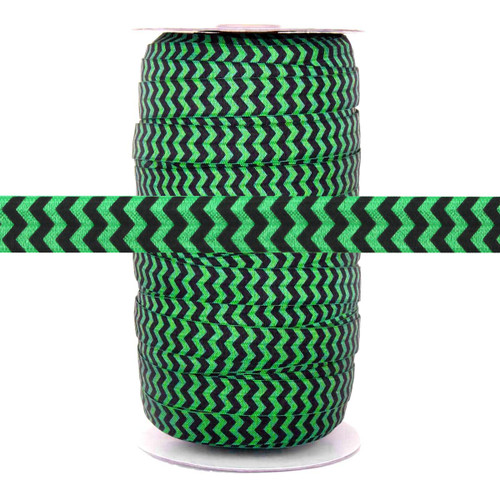 "Kelly Green Black Chevron 5/8"" Fold Over Elastic 100yd"