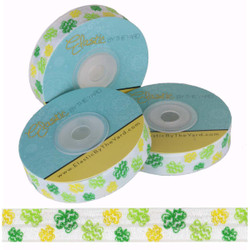 "Glitter Clover on White 5/8"" Fold Over Elastic"
