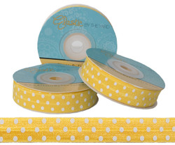 Yellow with White Polka Dots Fold Over Elastic