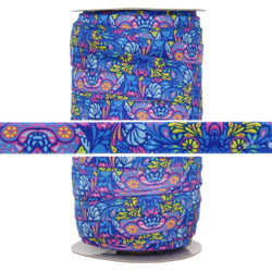Paisley Blue Print Fold Over Elastic 100yd