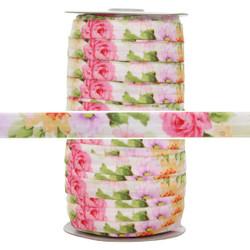 Rose Garden Print Fold Over Elastic 100yd