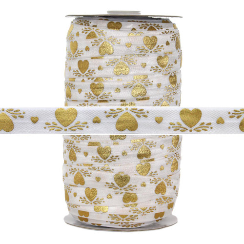 Gold Hearts Print Fold Over Elastic 100yd