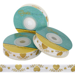 Gold Hearts Print Fold Over Elastic