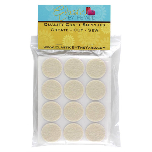 "1 1/2"" Antique White Adhesive Felt Circles 12 to 240 Dots"