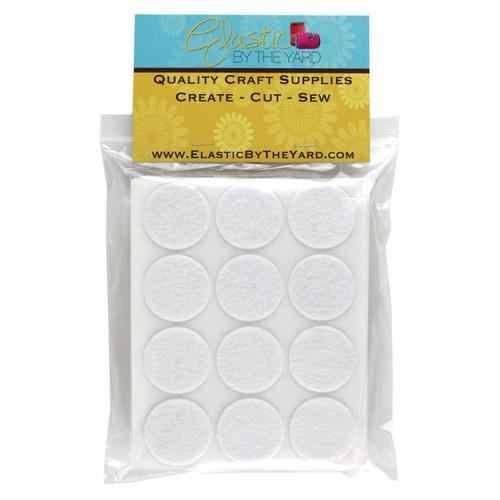 "1 1/2"" White Adhesive Felt Circles 12 to 240 Dots"