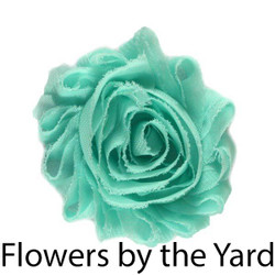 "Bulk 1 Yard Aqua 2"" Shabby Rose Flowers"