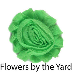 "Bulk 1 Yard Lime Green 2"" Shabby Rose Flowers"