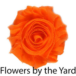 "Bulk 1 Yard Neon Orange 2"" Shabby Rose Flowers"