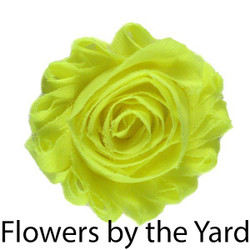"Bulk 1 Yard Neon Yellow 2"" Shabby Rose Flowers"