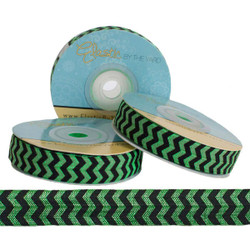 "Black Chevron on Kelly Green 5/8"" Fold Over Elastic"