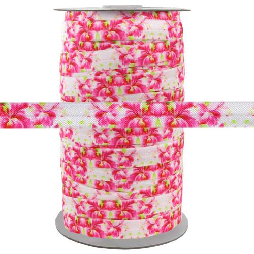 "Floral Pink 5/8"" Fold Over Elastic 100yd"