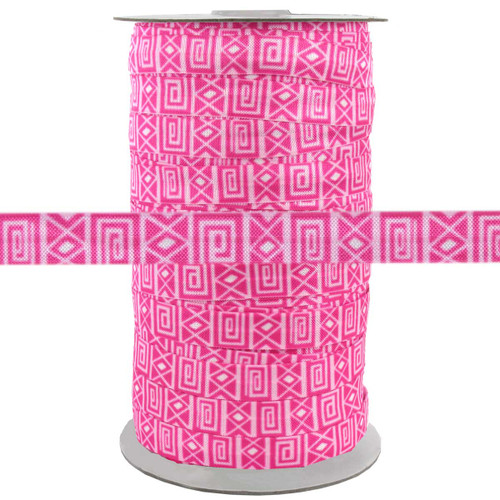 """Pink Zig Zag Square 5/8"""" Fold Over Elastic 100yd"""