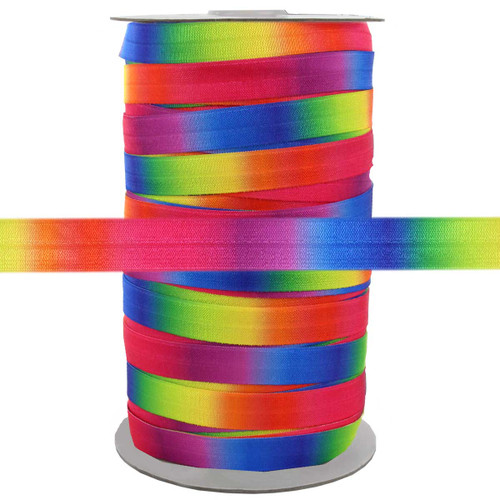 "Rainbow 5/8"" Fold Over Elastic 100yd"
